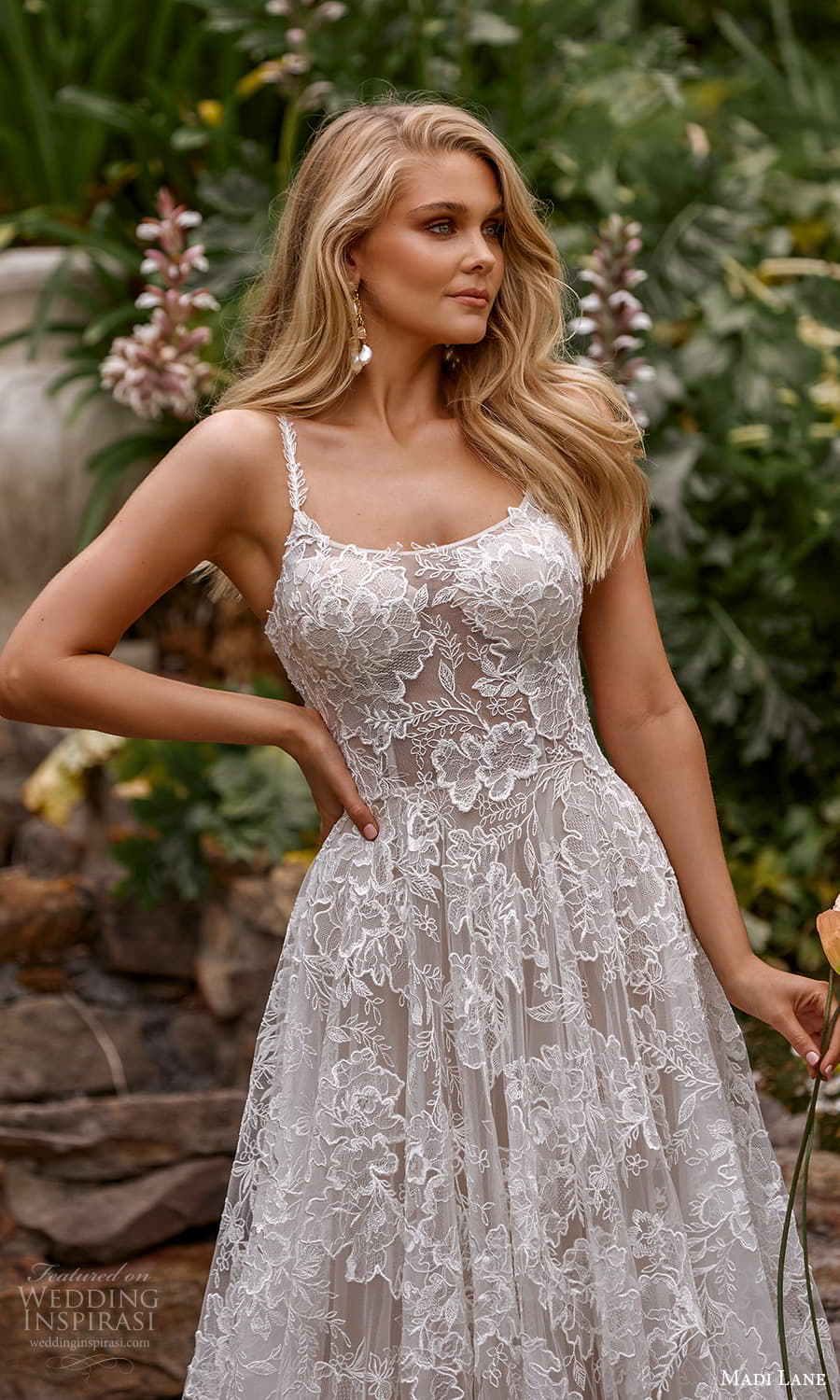 madi lane fall 2021 bridal sleeveless straps scoop neckline fully embellished lace a line ball gown wedding dress chapel train (7) zv