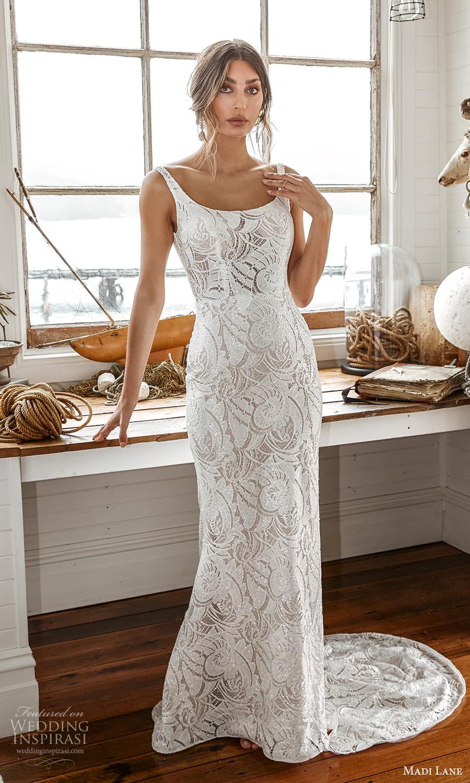 madi lane fall 2021 bridal sleeveless straps scoop neckline fully embellished sheath wedding dress chapel train (2) mv