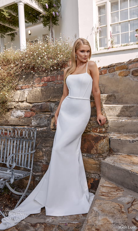 madi lane fall 2021 bridal sleeveless straps square neckline clean minimalist sheath wedding dress sweep train (10) mv