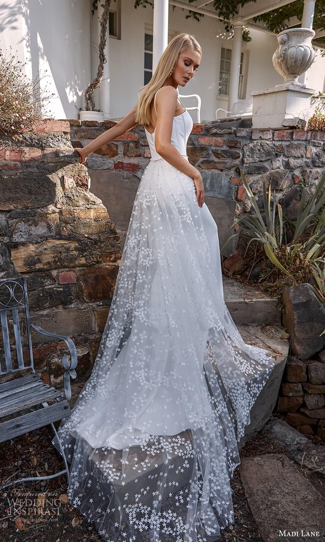madi lane fall 2021 bridal sleeveless straps square neckline clean minimalist sheath wedding dress sweep train a line overskirt (10) bv