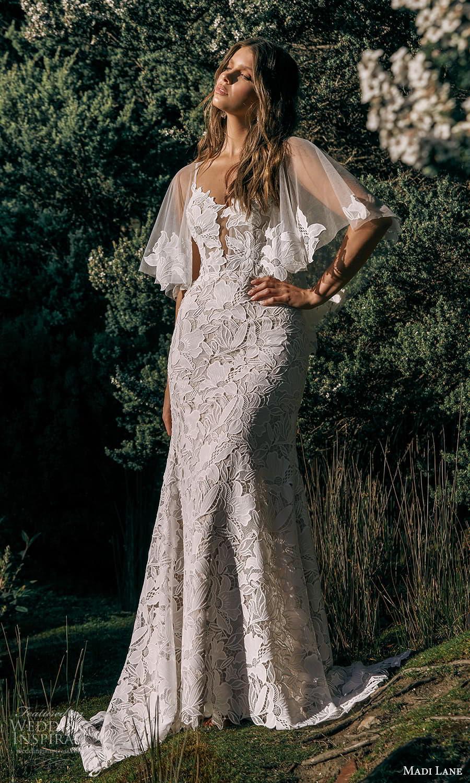 madi lane fall 2021 bridal sleeveless straps sweetheart neckline fully embellished sheath wedding dress sheer cape (16) mv