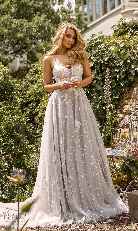 madi lane fall 2021 bridal sleeveless straps sweetheart v neckline embellished a line ball gown wedding dress chapel train (5) mv