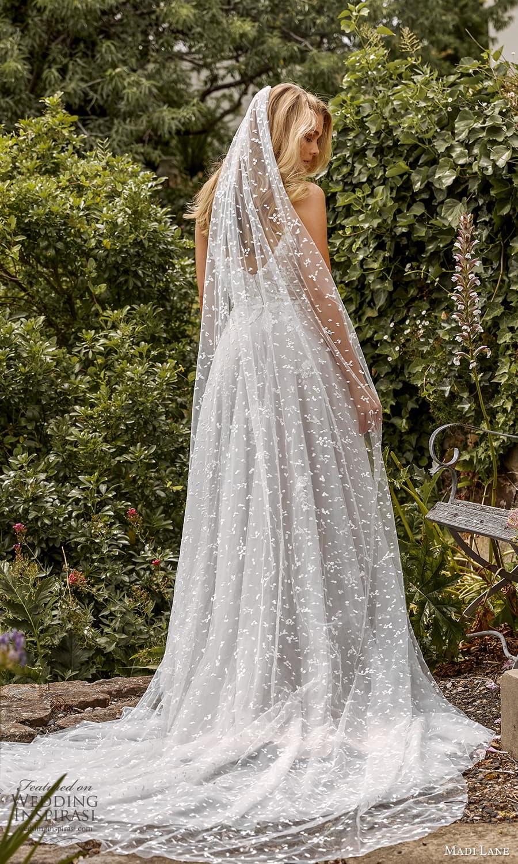 madi lane fall 2021 bridal sleeveless straps sweetheart v neckline embellished a line ball gown wedding dress chapel train veil (5) bv