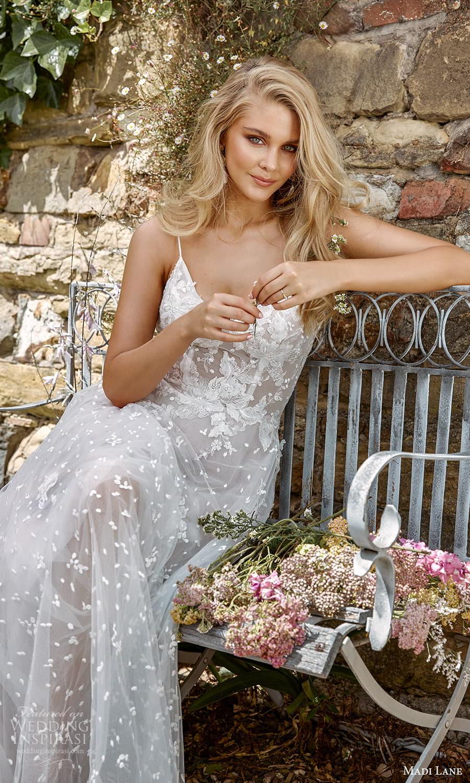 madi lane fall 2021 bridal sleeveless straps sweetheart v neckline embellished a line ball gown wedding dress chapel train veil (5) zv
