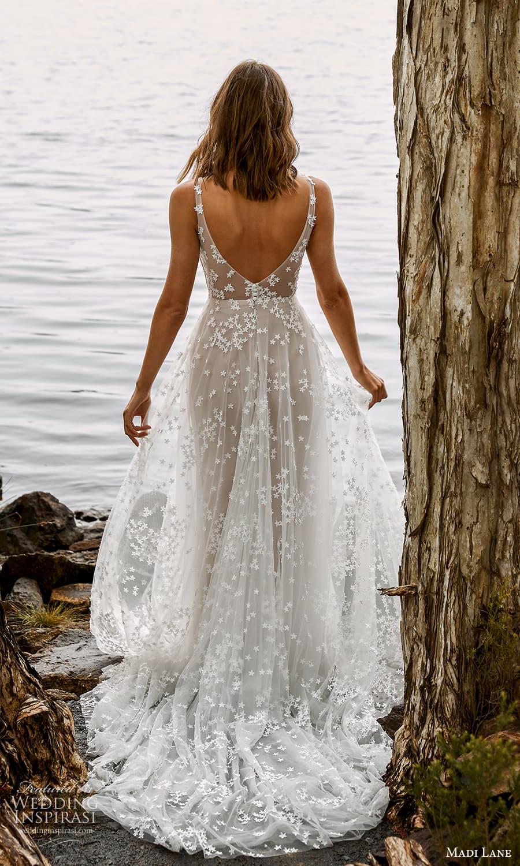 madi lane fall 2021 bridal sleeveless straps v neckline embellished a line wedding dress chapel train (1) bv