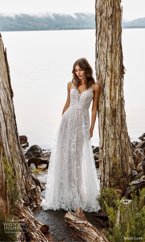 madi lane fall 2021 bridal sleeveless straps v neckline embellished a line wedding dress chapel train (1) mv