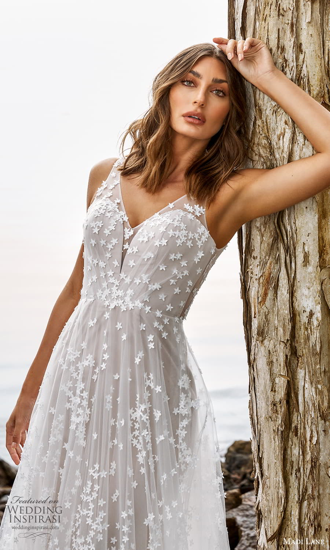 madi lane fall 2021 bridal sleeveless straps v neckline embellished a line wedding dress chapel train (1) zv
