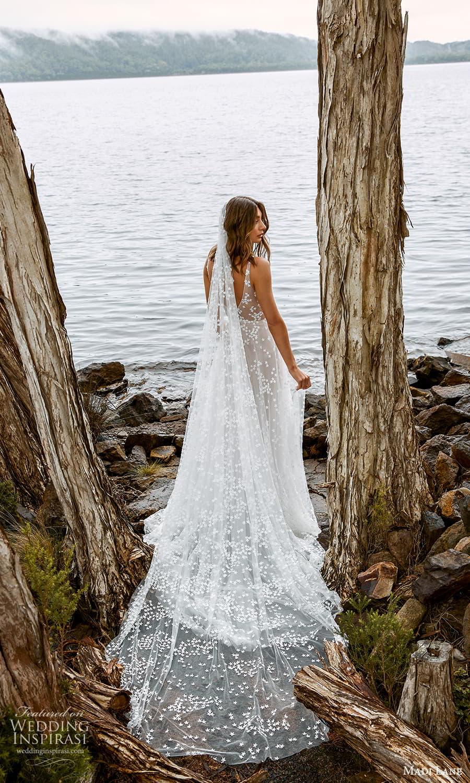 madi lane fall 2021 bridal sleeveless straps v neckline embellished a line wedding dress chapel train veil (1) bv