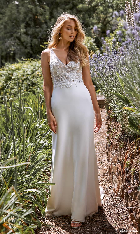 madi lane fall 2021 bridal sleeveless straps v neckline embellished bodice clean skirt sheath wedding dress chapel train (6) mv