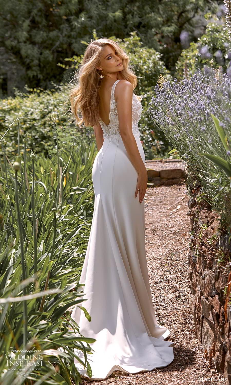 madi lane fall 2021 bridal sleeveless straps v neckline embellished bodice clean skirt sheath wedding dress chapel train scoop back (6) bv