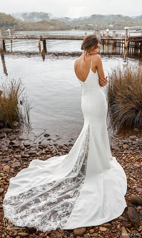 madi lane fall 2021 bridal sleeveless straps v neckline embellished bodice sheath wedding dress chapel train (18) bv