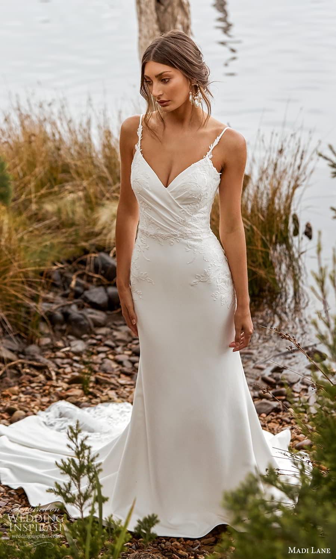 madi lane fall 2021 bridal sleeveless straps v neckline embellished bodice sheath wedding dress chapel train (18) mv
