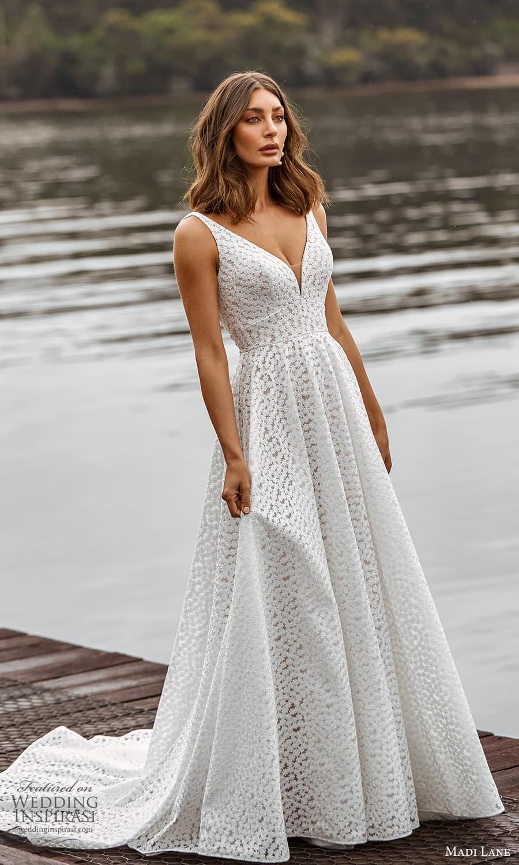madi lane fall 2021 bridal sleeveless straps v neckline fully embellished a line ball gown wedding dress chapel train (17) mv