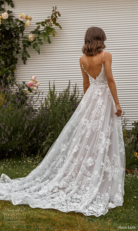 madi lane fall 2021 bridal sleeveless straps vneckline fully embellished a line ball gown wedding dress chapel train (14) bv