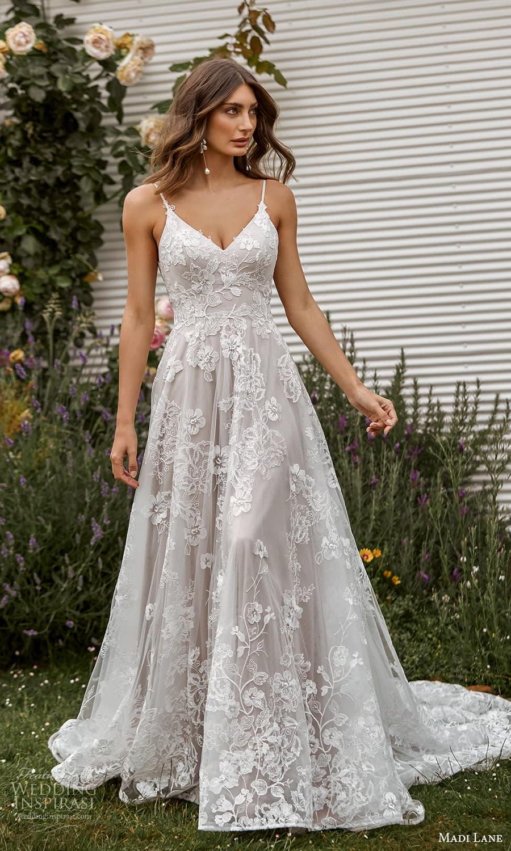 madi lane fall 2021 bridal sleeveless straps vneckline fully embellished a line ball gown wedding dress chapel train (14) fv
