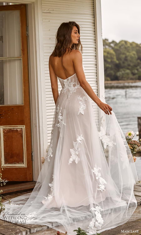 madi lane fall 2021 bridal strapless sweetheart neckline embellished a line ball gown wedding dress chapel train (19) bv