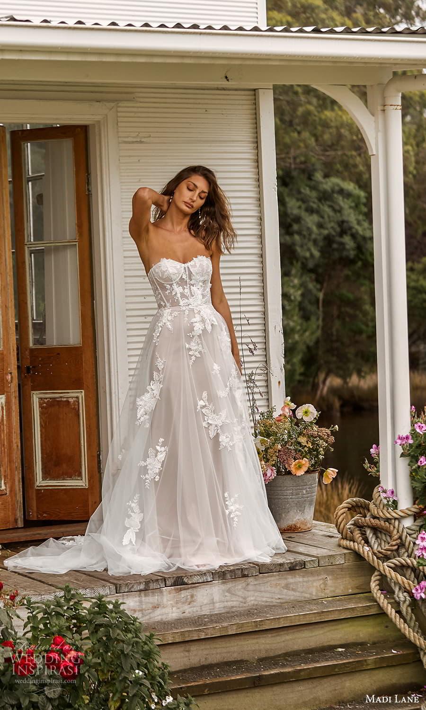 madi lane fall 2021 bridal strapless sweetheart neckline embellished a line ball gown wedding dress chapel train (19) mv