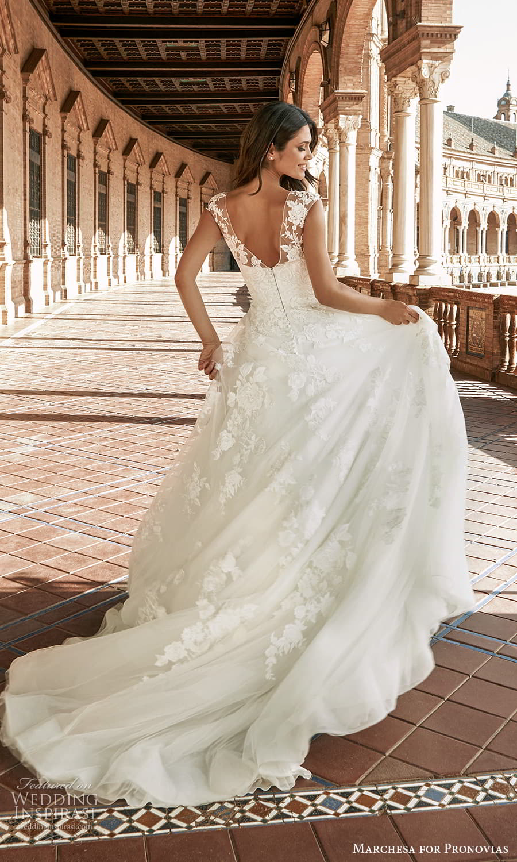 marchesa for pronovias 2022 bridal cap sleeves sheer bateau neckline embellished a line ball gown wedding dress chapel train (6) bv