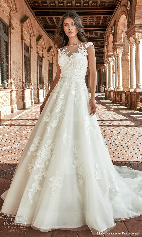 marchesa for pronovias 2022 bridal cap sleeves sheer bateau neckline embellished a line ball gown wedding dress chapel train (6) mv