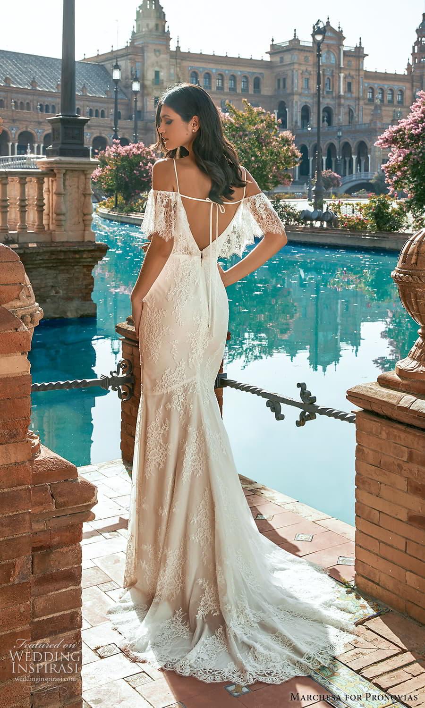 marchesa for pronovias 2022 bridal flutter sleeve cold shoulder straps v neckline fully embellished lace sheath wedding dress chapel train slit skirt (1) bv