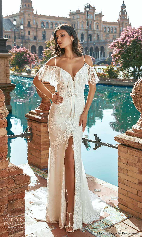 marchesa for pronovias 2022 bridal flutter sleeve cold shoulder straps v neckline fully embellished lace sheath wedding dress chapel train slit skirt (1) mv
