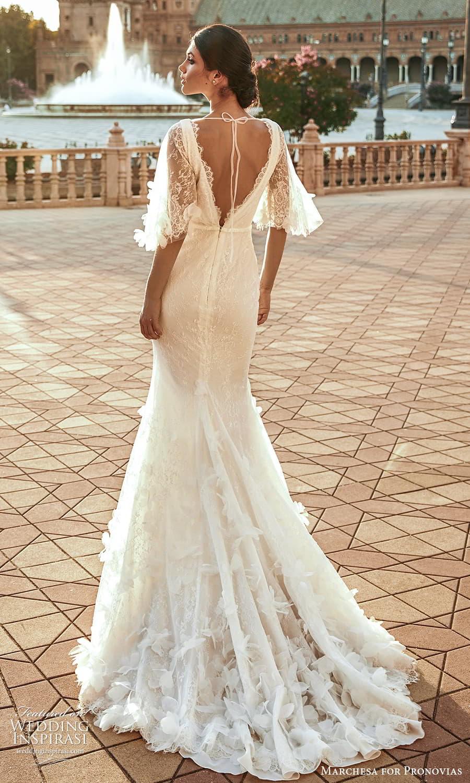 marchesa for pronovias 2022 bridal flutter sleeve cowl neckline embellished lace sheath wedding dress sweep train (19) bv