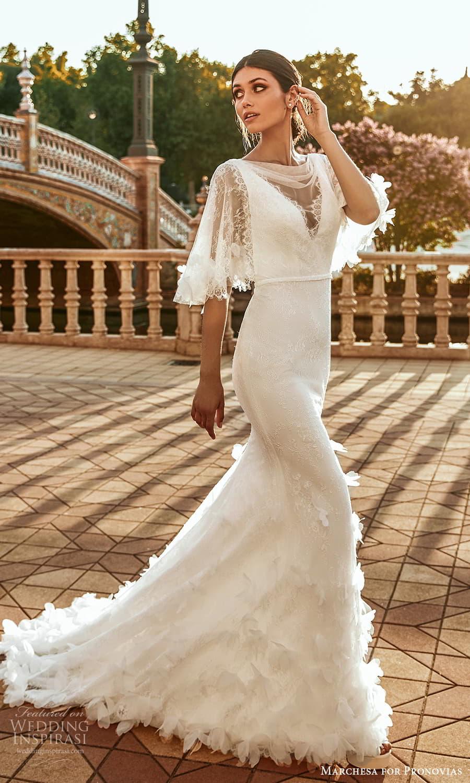 marchesa for pronovias 2022 bridal flutter sleeve cowl neckline embellished lace sheath wedding dress sweep train (19) mv