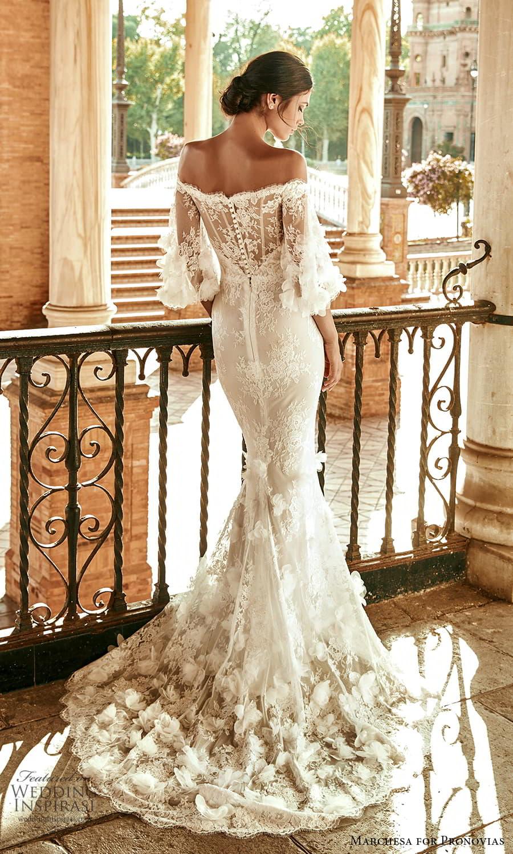 marchesa for pronovias 2022 bridal off shoulder flare sleeves embellished lace sheath wedding dress sweep train (7) bv