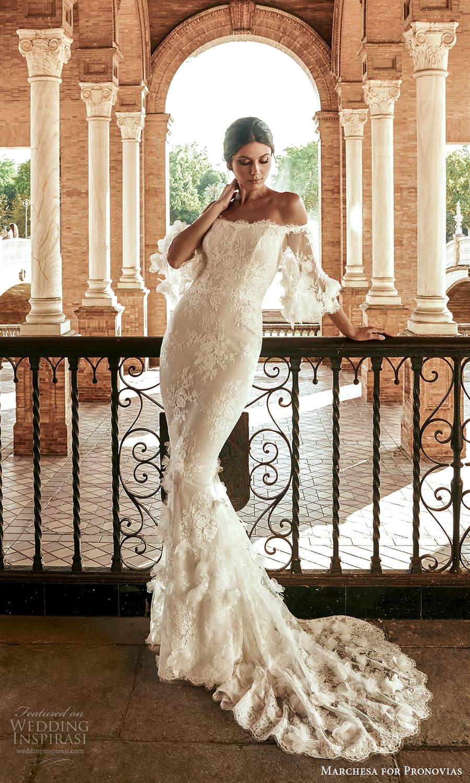 marchesa for pronovias 2022 bridal off shoulder flare sleeves embellished lace sheath wedding dress sweep train (7) mv