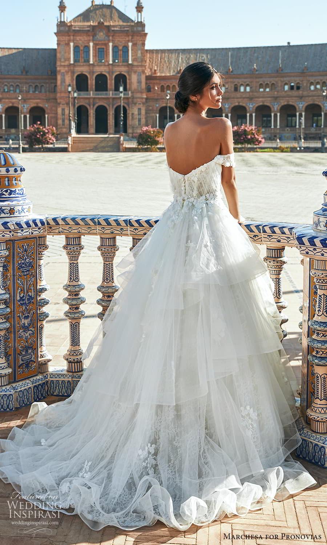 marchesa for pronovias 2022 bridal off shoulder straps sweetheart neckline embellished bodice a line ball gown wedding dress chapel train (3) bv