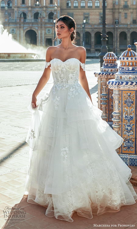marchesa for pronovias 2022 bridal off shoulder straps sweetheart neckline embellished bodice a line ball gown wedding dress chapel train (3) mv