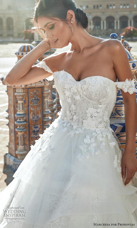 marchesa for pronovias 2022 bridal off shoulder straps sweetheart neckline embellished bodice a line ball gown wedding dress chapel train (3) zv