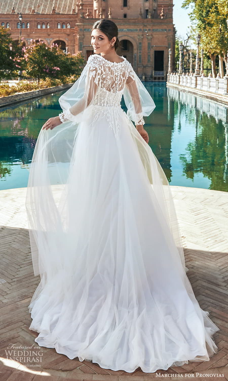 marchesa for pronovias 2022 bridal sheer bishop sleeves bateau neckline embellished bodice a line wedding dress chapel train (17) bv