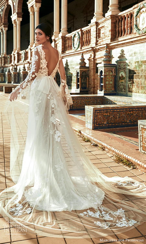 marchesa for pronovias 2022 bridal sheer flare sleeve v necklne embellished a line wedding dress chapel train (13) bv