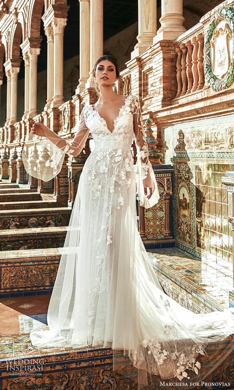 marchesa for pronovias 2022 bridal sheer flare sleeve v necklne embellished a line wedding dress chapel train (13) mv