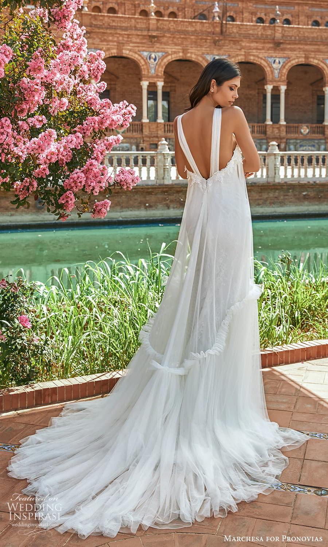 marchesa for pronovias 2022 bridal sleeveless halter necklnie tent wedding dress chapel train (16) bv