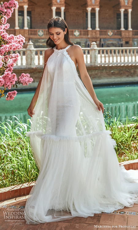 marchesa for pronovias 2022 bridal sleeveless halter necklnie tent wedding dress chapel train (16) mv