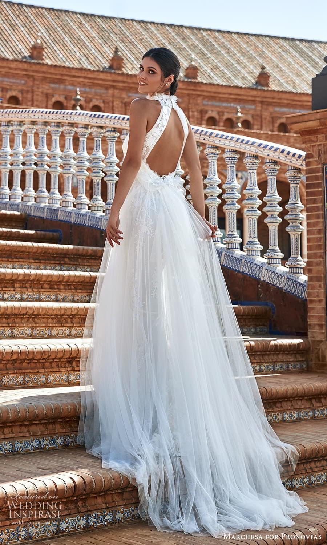 marchesa for pronovias 2022 bridal sleeveless high halter neckline embellished a line wedding derss chapel train sheer (14) bv