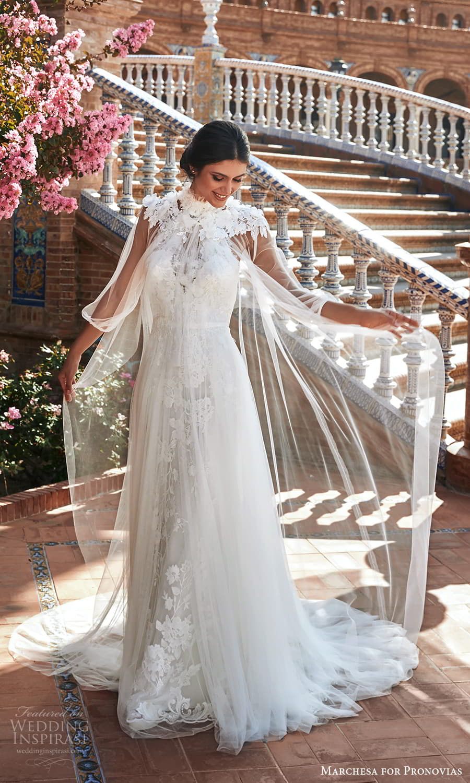 marchesa for pronovias 2022 bridal sleeveless high halter neckline embellished a line wedding derss chapel train sheer overcoat (14) mv
