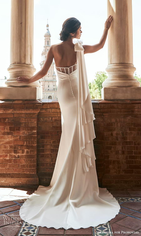 marchesa for pronovias 2022 bridal sleeveless one shoulder straps asymmetric neckline clean minimalist sheath wedding dress slit skirt sweep train 4) bv