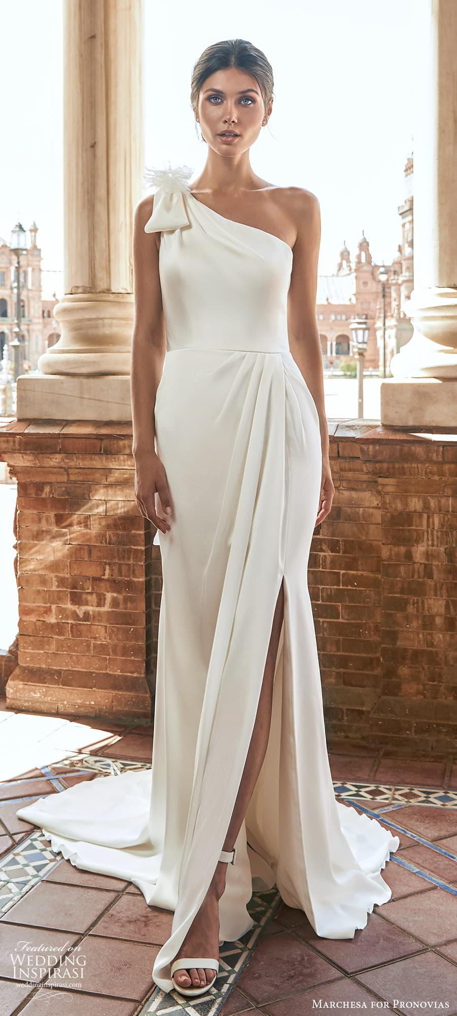 marchesa for pronovias 2022 bridal sleeveless one shoulder straps asymmetric neckline clean minimalist sheath wedding dress slit skirt sweep train 4) mv
