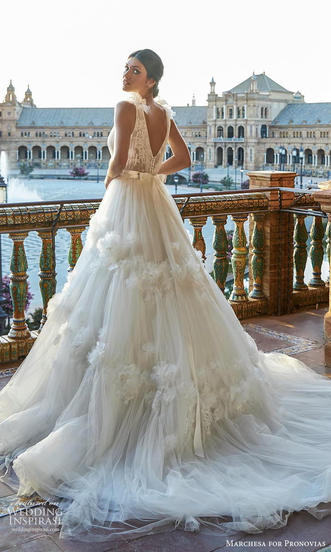 marchesa for pronovias 2022 bridal sleeveless straps plunging v neckline embellished bodice a line wedding dress chapel train (18) bv