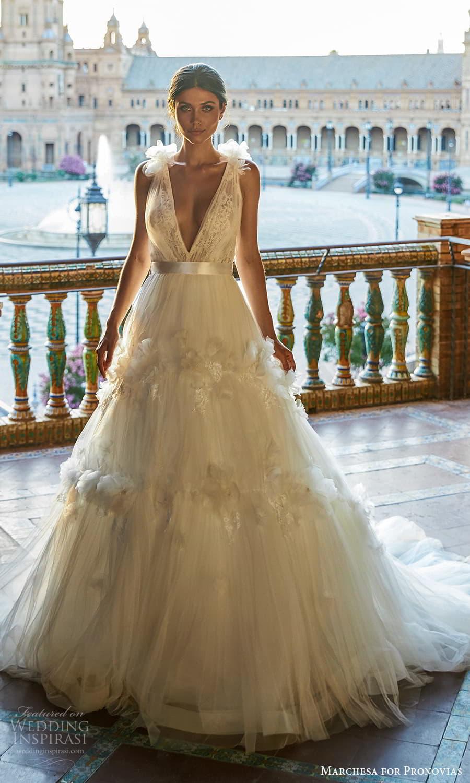 marchesa for pronovias 2022 bridal sleeveless straps plunging v neckline embellished bodice a line wedding dress chapel train (18) mv
