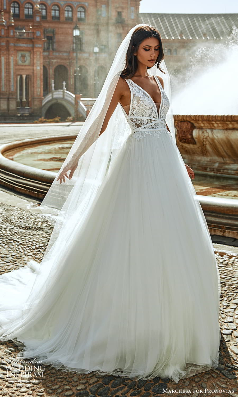 marchesa for pronovias 2022 bridal sleeveless straps plunging v necklnie embellished bodice a line wedding dress chapel train (12) mv