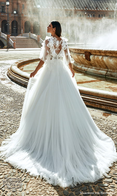 marchesa for pronovias 2022 bridal sleeveless straps plunging v necklnie embellished bodice a line wedding dress chapel train cape (12) bv