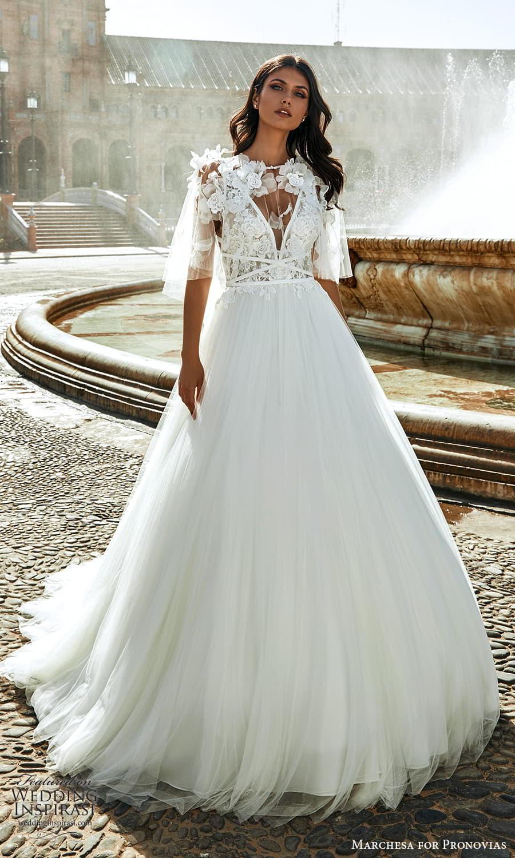 marchesa for pronovias 2022 bridal sleeveless straps plunging v necklnie embellished bodice a line wedding dress chapel train cape (12) mv