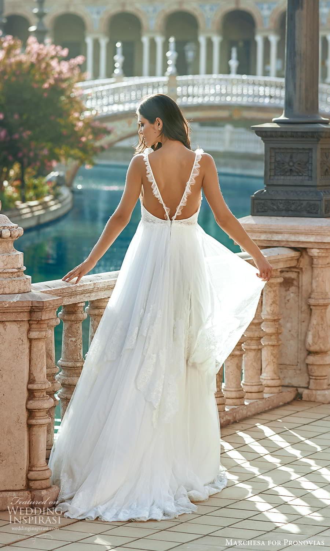 marchesa for pronovias 2022 bridal sleeveless straps sweetheart neckline embellished bodice empire wedding dress sweep train (8) bv