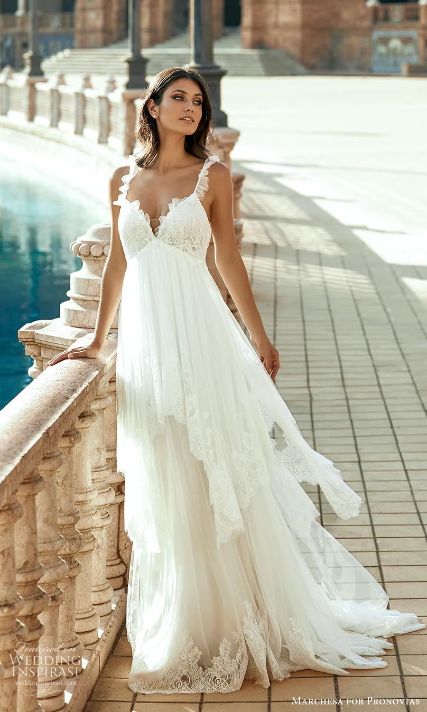 marchesa for pronovias 2022 bridal sleeveless straps sweetheart neckline embellished bodice empire wedding dress sweep train (8) mv