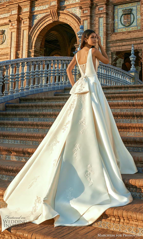 marchesa for pronovias 2022 bridal sleeveless straps v neckline clean minimalist a line ball gown wedding dress chapel train (20) bv