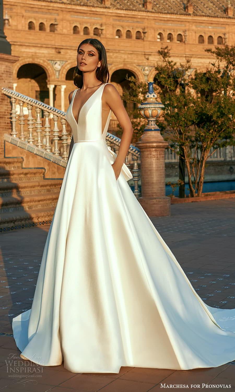 marchesa for pronovias 2022 bridal sleeveless straps v neckline clean minimalist a line ball gown wedding dress chapel train (20) mv